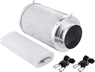 Growtent Garden 6 inch Air Carbon Filter Odor Controler Filled by Australia Virgin Charcoal with Reversible Flange for Inline Fan, Prefilter Included. (6 inch)
