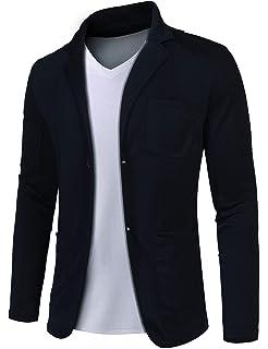 MAXMODA Herren Slim Fit Sakko V-Ausschnitt Anzugjacken Zwei-knopf Blazer  mit Vordertasche 46efe643b9