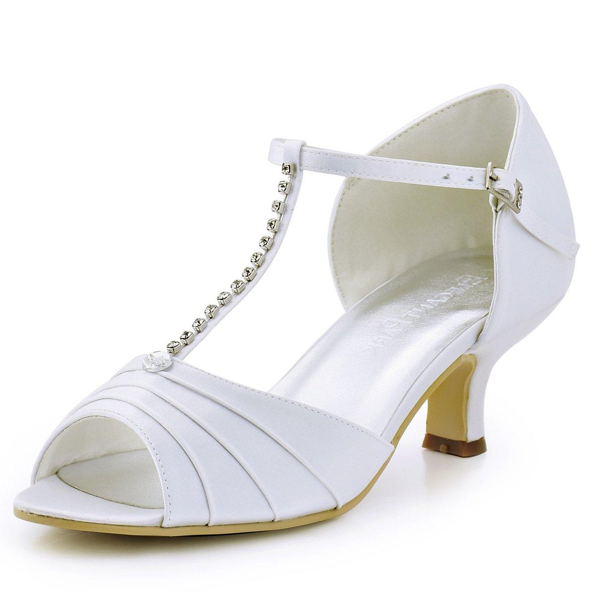 84da641573e ElegantPark ElegantPark ElegantPark EL-035 Women Peep Toe T-Strap Pumps Mid Heel  Rhinestones Satin Evening Wedding Bridal Sandals B00AWO65A8 6 B(M) US (true  ...