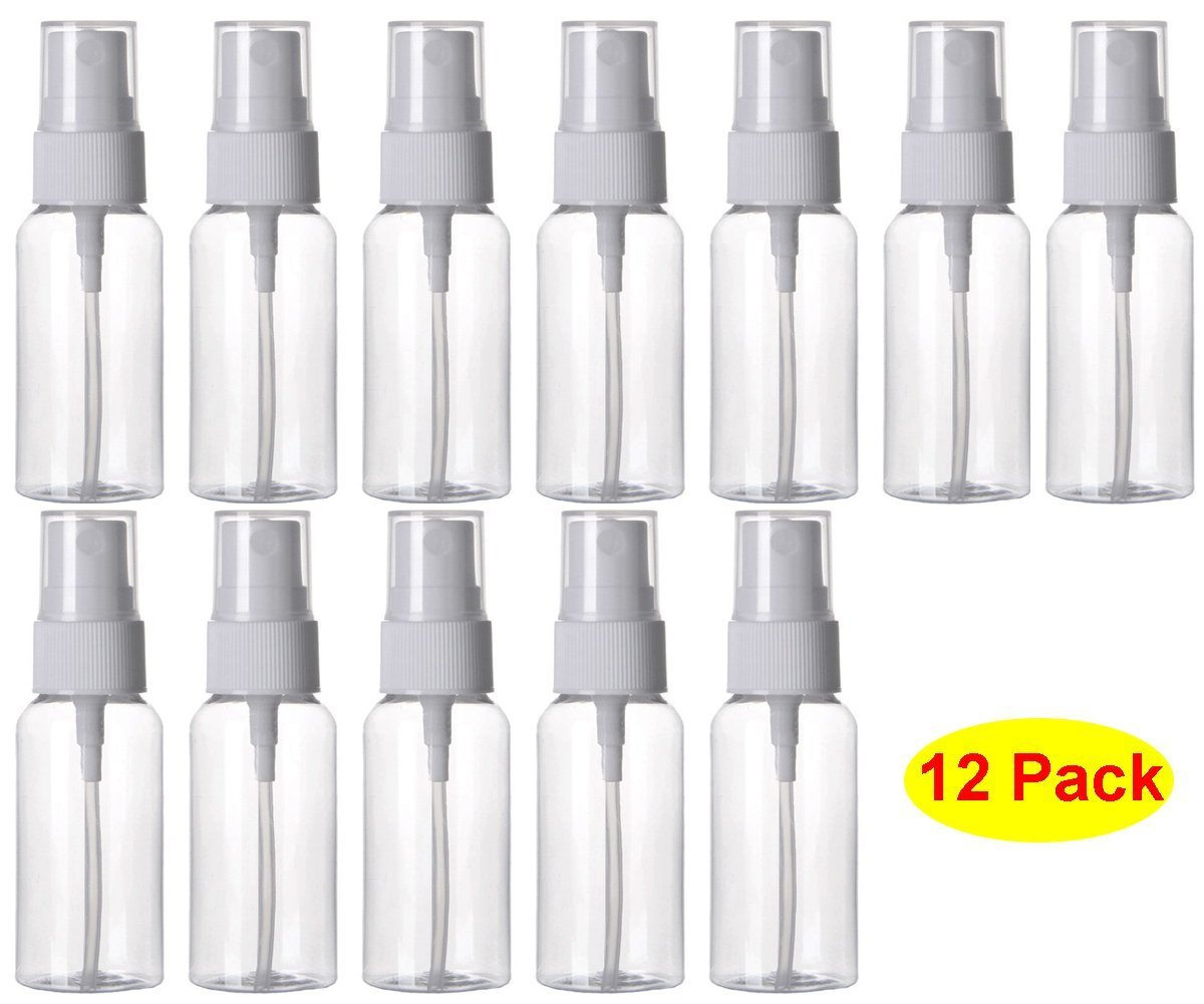 KKMore 1 Ounce Refillable Fine Mist Spray Bottle Perfume Sprayer Bottle Cosmetic Atomizers PET Spray Bottles Pump Pack of 12