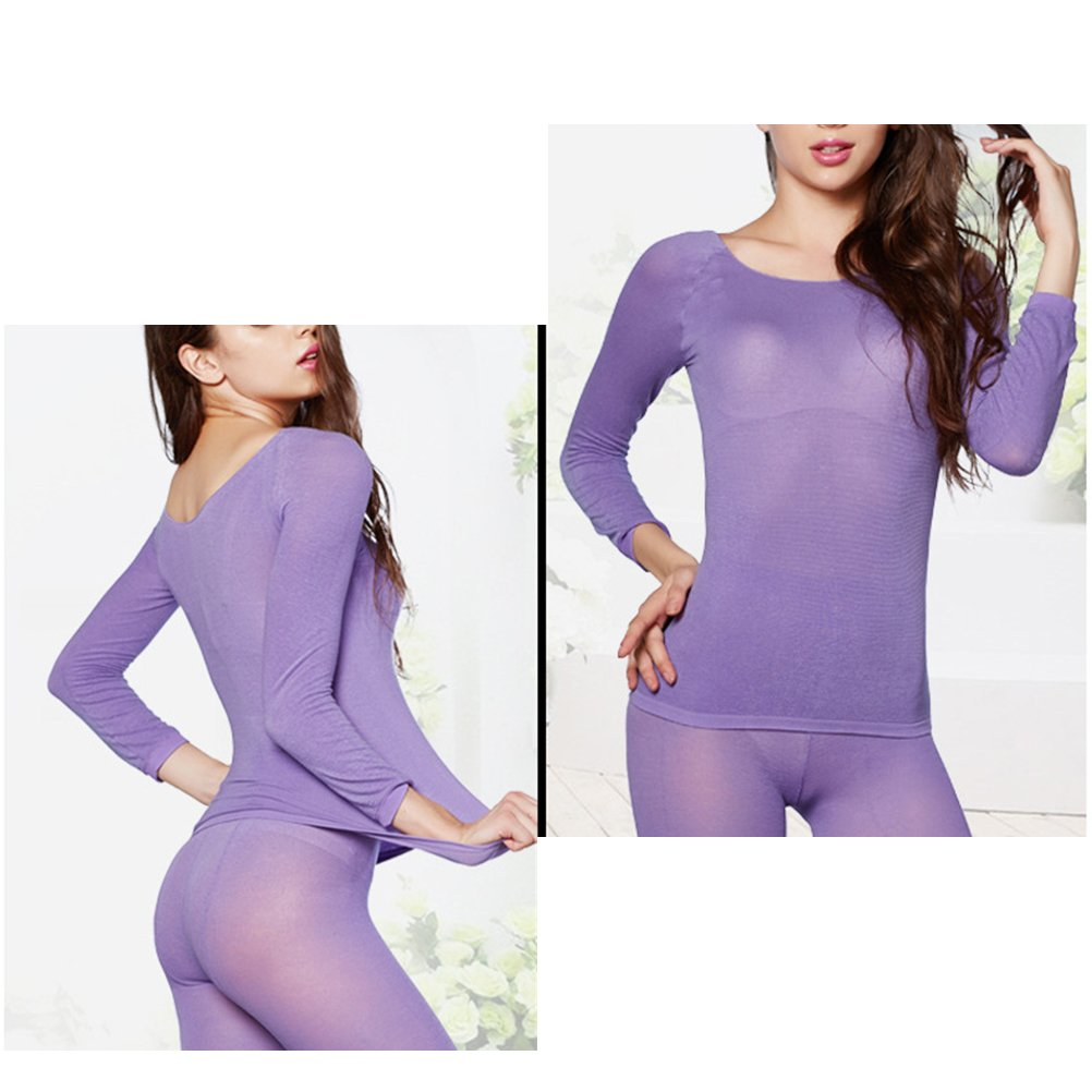 Zhhlaixing Donne Women Ultra Thin Seamless Bodyshaper Thermal Underwear Suits Top /& Pant