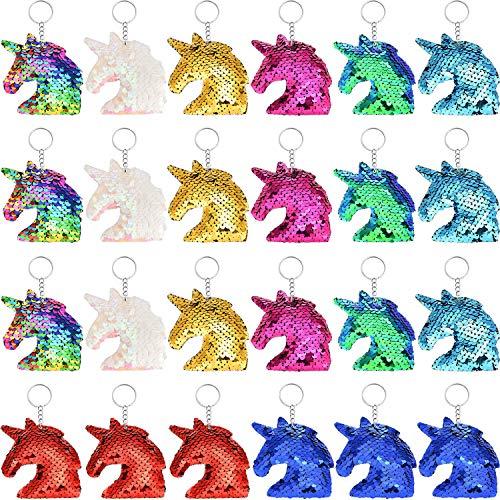 Flip Sequin Unicorn Keychains Colorful Unicorn Key Chain for Handbag Purse Party Embellishment (Color Set 2, 24 Pieces)