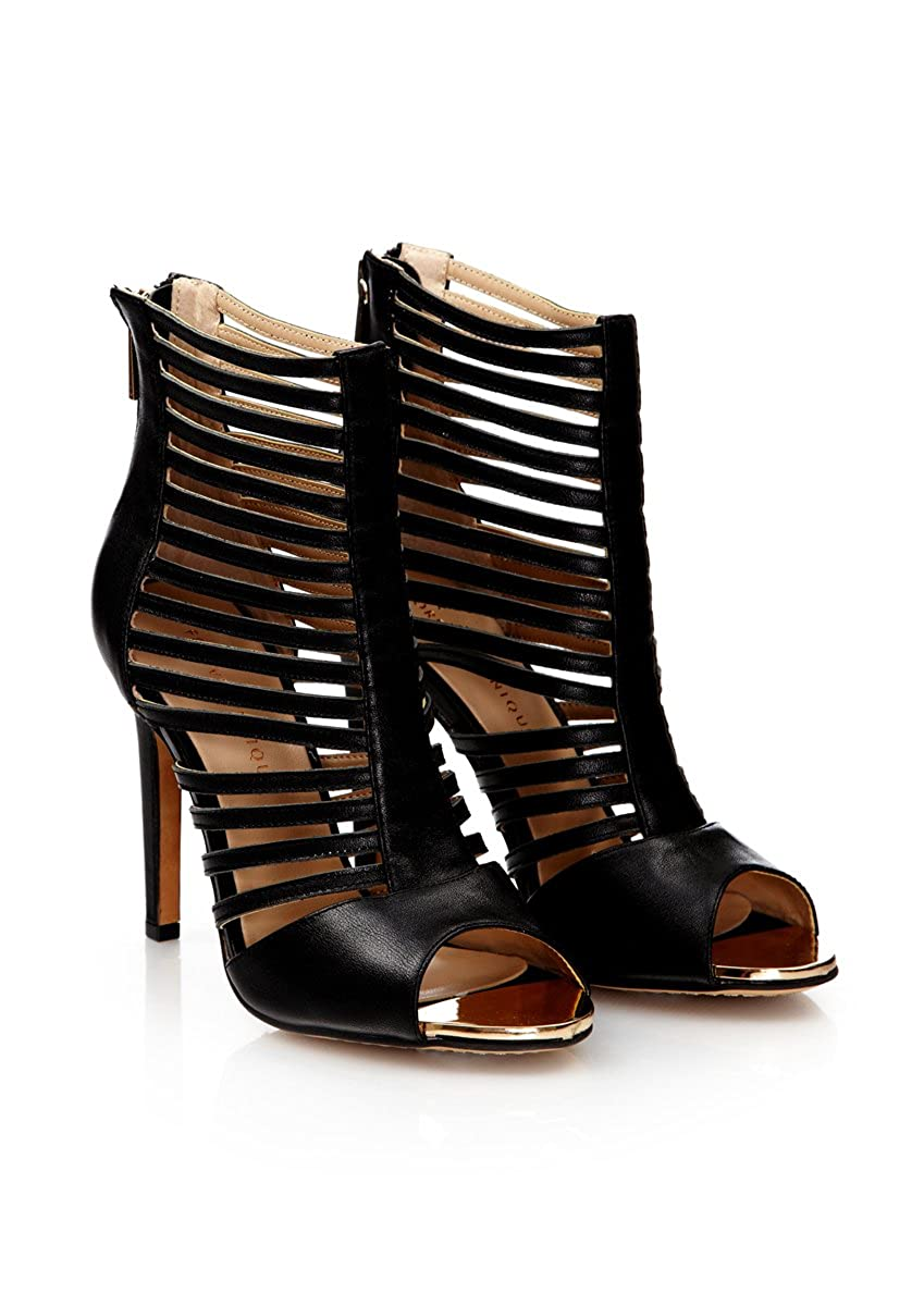 - Forever Unique - BOUNDRY - schwarz Strappy Leather schuhe schuhe Stiefel  beste Mode