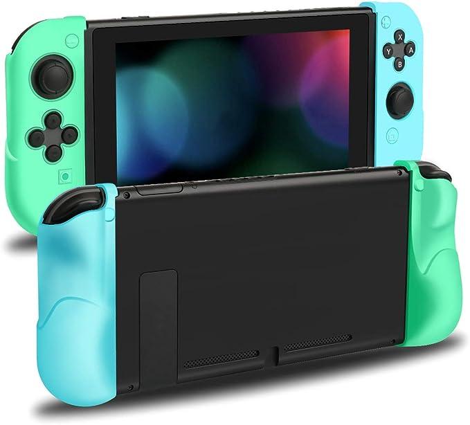 Funda para Nintendo Switch Joy Con, Unionup Joycon Grip Cover para Animal Crossing New Horizons, Carcasa protectora de silicona suave antiarañazos y antideslizante para controlador (azul y verde): Amazon.es: Electrónica