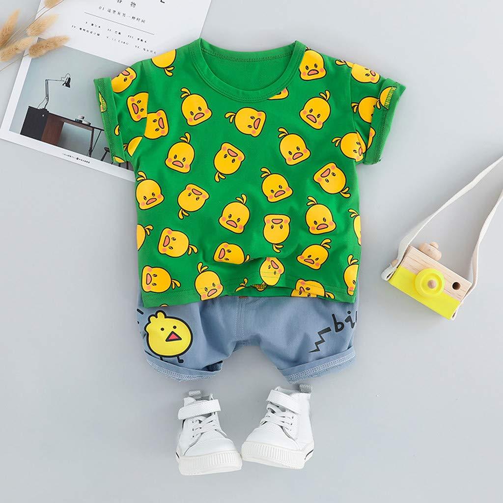Ropa Beb/é Ni/ñas Ni/ños 2pcs Verano Tops de Mangas Corta Impresi/ón de Pato Pantalones Cortos Trajes Conjunto de Ropa para Beb/és Ni/ños 3-24 Meses Holatee