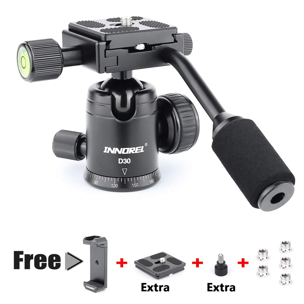 Ball Head with Handle All Metal CNC Panoramic Tripod Ball Heads Camera Mount INNOREL Ball Head with Two 1/4'' Quick Release Plates for Tripod, DSLR, Camcorder, Telescope,Max Load 17.6lbs/8kg by INNOREL