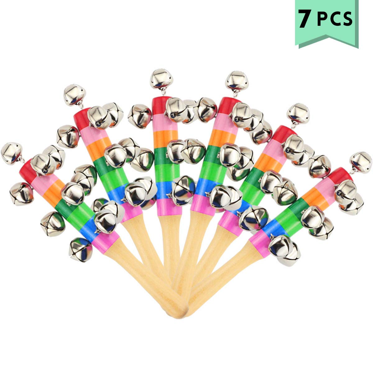 Oruuum 7PCS Bright Color Rainbow Handle Wooden Bells, Christmas Bell For Kids Jingle Stick Shaker Rattle Baby Kids Children Musical Toys by Oruuum