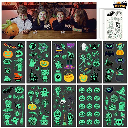 Kids Halloween Temporary Tattoo, MEZOOM 110pcs Glowing in Dark Ghost Temporary Tattoos Luminous Pumpkin Fake Sticker Halloween Themed Cobweb Bat Skeleton Spider for Boys Girls Party