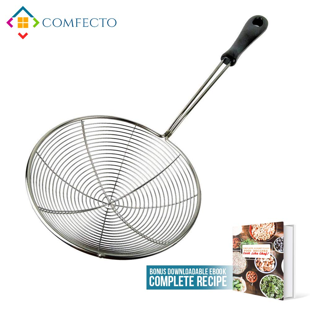"Stainless Steel Spider Strainer, 6.3"" Asian Wire Skimmer Ladle for Cooking Frying Food Pasta Spaghetti Noodle Hot Pot, Stay Cool Handle with Hook for Easy Storage, Food Recipe Ebook Included"
