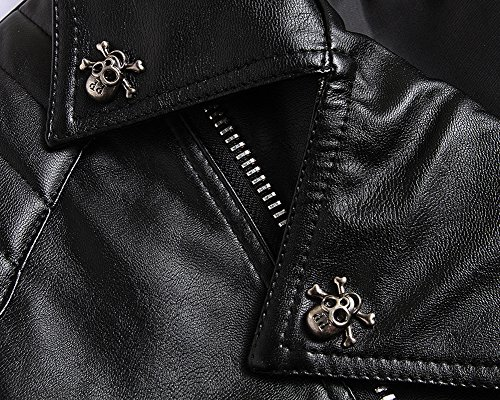 negro para Piel Sintética de Chaqueta Motociclista Hombre Yqw1ng