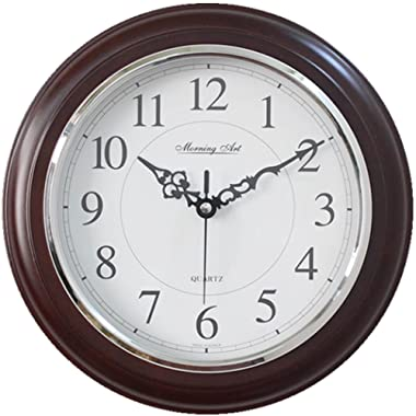 Decorative Analog Wall Clock Silent Battery Operated Modern Quartz Round Wall Clock Simple for Home, Office, Bedroom, 10 , White, Dark Brown Frame