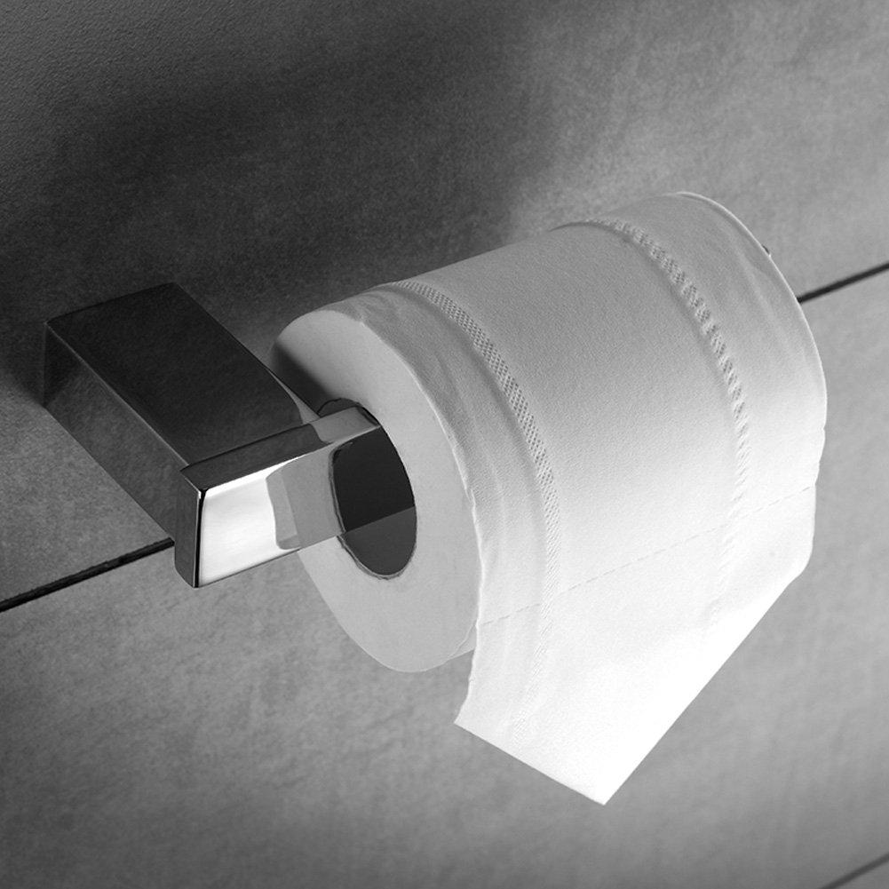 KOOLIFT Bathroom Paper Towel Holder Set Toilet Paper Large Roll Hanger Tank Extender Big Tissue Dispenser Kitchen Storage Bath Hand Towel Bar Modern Square Wall Mount Stainless Steel Polished Chrome