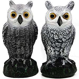 Hausse 2 Pack Fake Horned Owl Decoy, Nature Enemy Pest Repellent for Outdoor Garden Yard