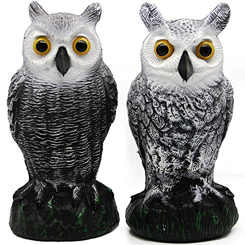 Hausse 2 Pack Bird Scarecrow Fake Horned Owl Decoy, Nature Enemy Pest Repellent for Outdoor Garden Yard (Owl Scare Birds)