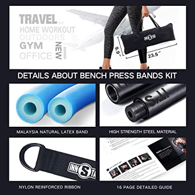 Porta Details about  /Bench Press Band with Detachable Bar Adjustable Push Up Resistance Bands