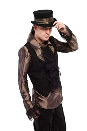 Altissimo Moda Size 2xl Gold Steampunk Style Mens Shirt Frilled - Steampunk-moda