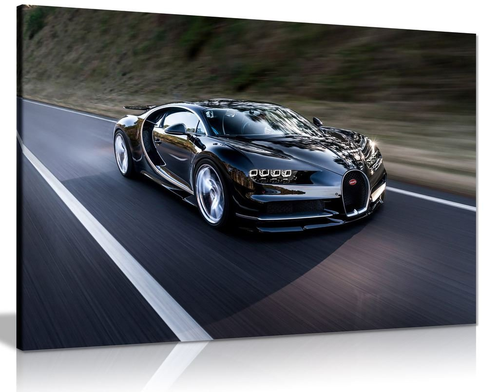 Bugatti Chiron Hypercar Canvas Wall Art Picture Print (36X24) Panther Print
