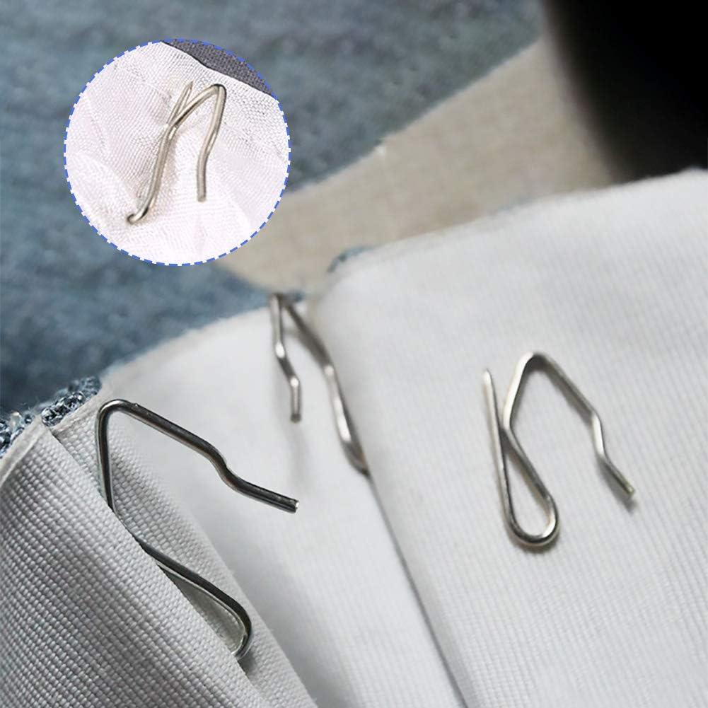 Curtain Hooks Stainless Steel Pin-On Drapery Hooks Silver Tone 50 Pcs