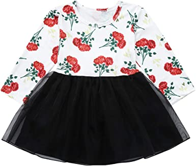 BAOMABA Baby Toddler Girls Long Sleeve Flower Print Clothes Party Princess Kids Dress