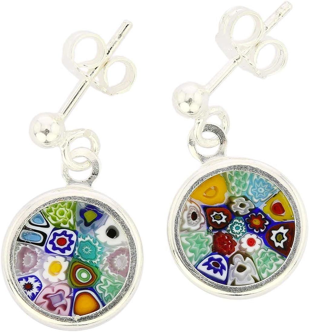 GlassOfVenice Millefiori - Pendientes de cristal de Murano con marco plateado, multicolor