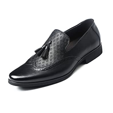Ruiyue Leder Oxford Schuhe Männer, Klassiker Krokodil Muster PU Leder Slip-on Weiche Sohle Business Luxus Oxfords für Herren (Farbe : Black, Size : 5.5 UK)