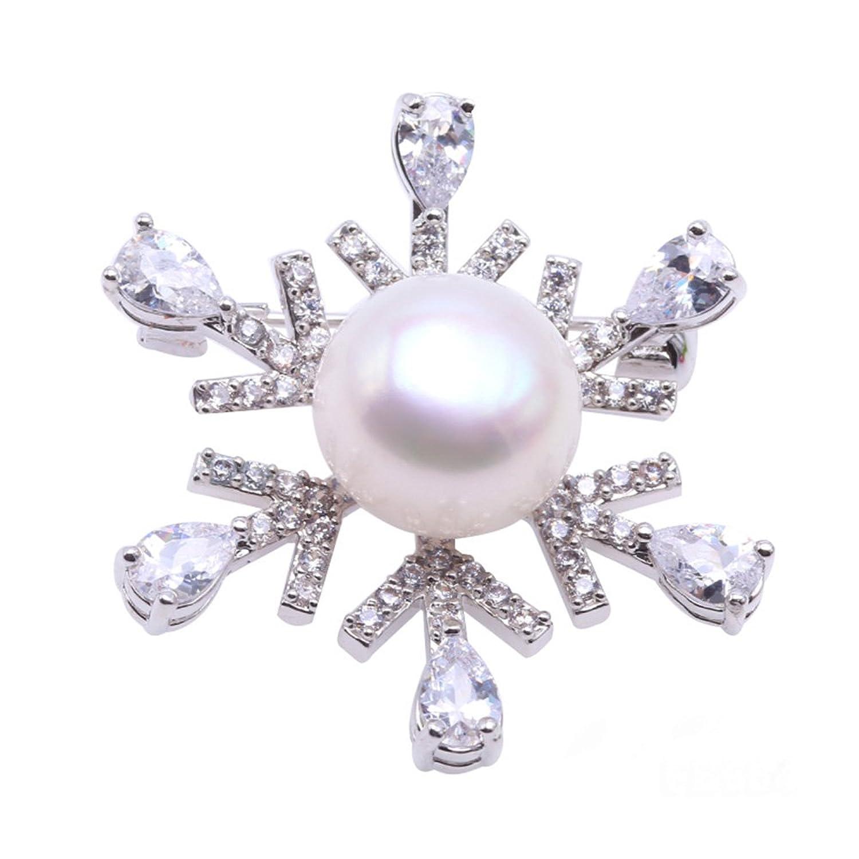 White Freshwater Pearl Snowflake Pin