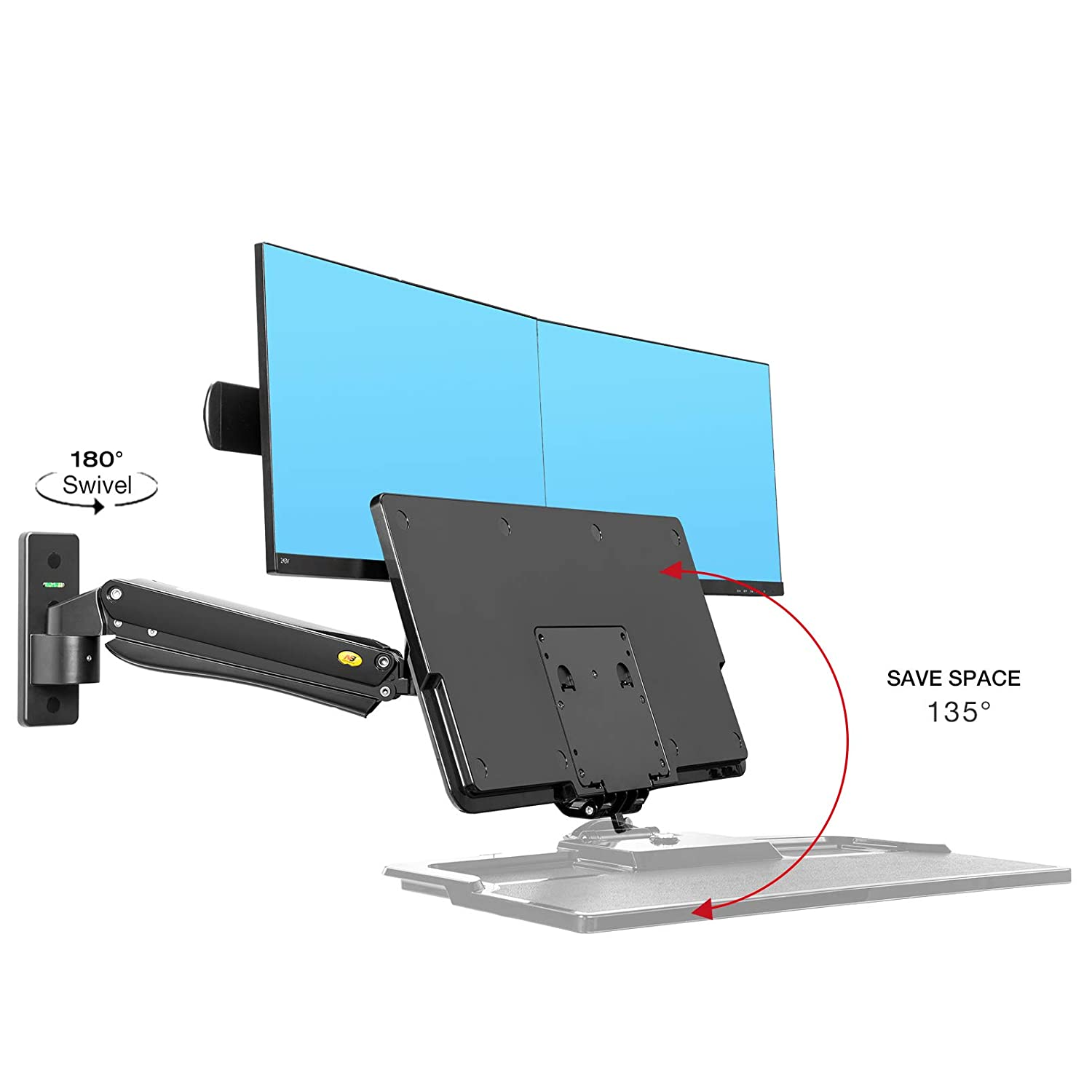 NB North Bayou Monitor TV Wall Mount Bracket LED LCD TV Mount Gas Strut Arm Fits 27-45 Computer Monitors or TV Within 6.6lbs to 28.6 lbs