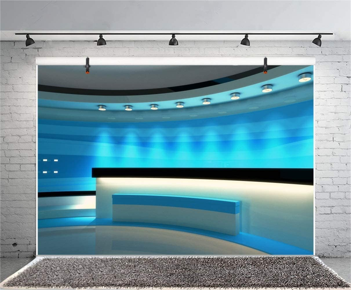 GoEoo Blue News Room Interior Backdrop Vinyl 10x7ft Round Broadcasting Room Long Platform Bright Spotlight Background TV Station Programing University Academic Report Live Video Record Show Banner