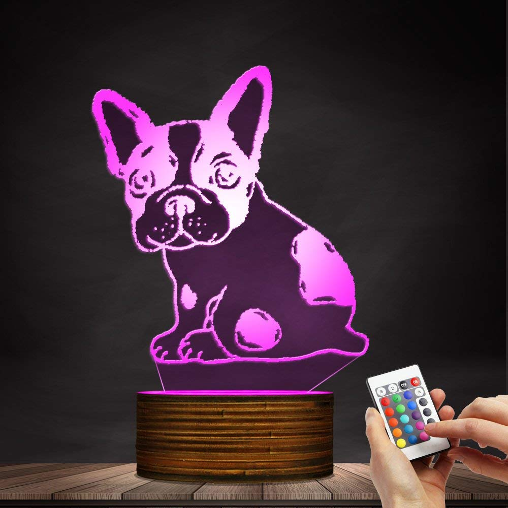 Novelty Lamp, Optical Illusion 3D LED Lamp Night Light French Bulldog, USB Powered Remote Control Changes The Color of The Light, Bedroom Table Lamp, Children's Gift, Home Decoration,Ambient Light by LIX-XYD (Image #8)