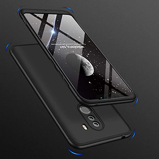 HuaXin Xiaomi Pocophone F1 Case,Fashion Ultra-Thin 3 in 1 PC Hard Case Cover+Screen Protector Suitable for Xiaomi Pocophone F1 (Charm Black)