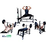 Body Maxx Multi 4 in 1 Bench Press (Incline Decline Flat Abs) Double Support Heavy Duty