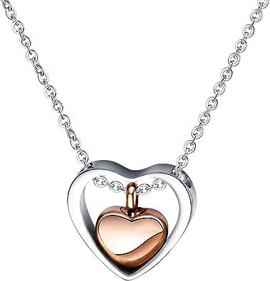 Moda De Plata//Oro Plateado Doble Corazón Colgante Collar Cadena Joyería para Mujer