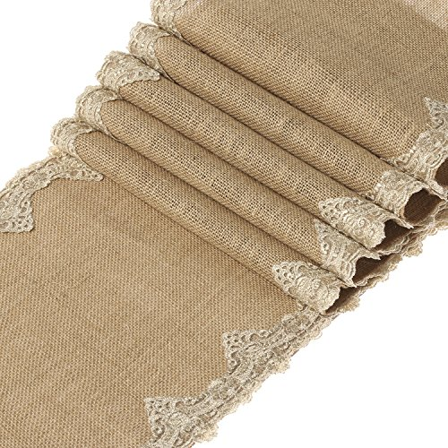 Ling's moment 12x108 inch Burlap Hessian Table Runner With Gold Victorian Lace, Fall Decoration Beach Theme Rustic Barn Wedding Decorations, Farmhouse Decor, Bridal Shower (Wedding Theme Colors)