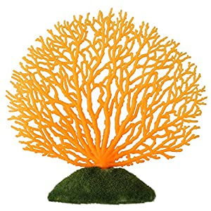 Artificial Coral Ornament Strip Coral Plant Ornament Glowing Effect Silicone Artificial Decoration for Fish Tank Aquarium Landscape(Orange) 53