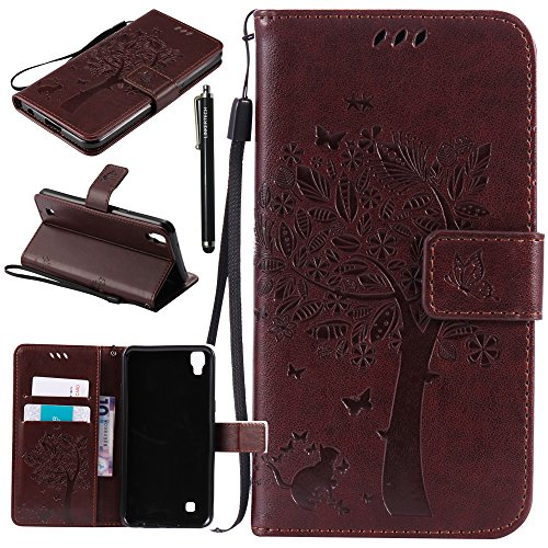 LG X Power Case, LG K6P Case, Linkertech [Kickstand Feature] PU Leather Wallet Flip Pouch Case Cover with Wrist Strap & Card Slots for LG X Power (Brown)