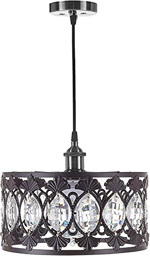 Top Lighting 1-Light Antique Black Finish Modern Crystal Chandelier Pendant Hanging Lighting Fixture