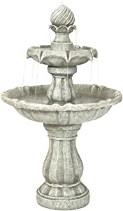 Sunnydaze 2-Tier Solar Powered Outdoor Water Fountain with Battery Backup - Outdoor Garden and Patio Decor Waterfall Feature - White Earth Finish - 35 Inch