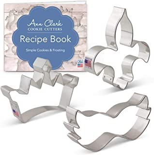 product image for Ann Clark Cookie Cutters 3-Piece Mardi Gras Cookie Cutter Set with Recipe Booklet, Mask, Princess Crown, Fleur de Lis