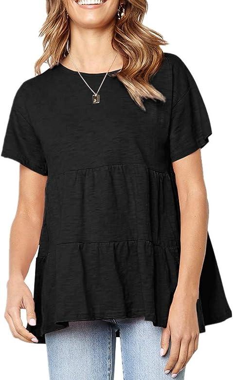 x8jdieu3 Camisa de Verano de Mujer de Manga Corta Plisada Suelta versión Ancha de la Camisa de Gran tamaño Camiseta de Mujer Chaleco de Camisa: Amazon.es: Ropa y accesorios