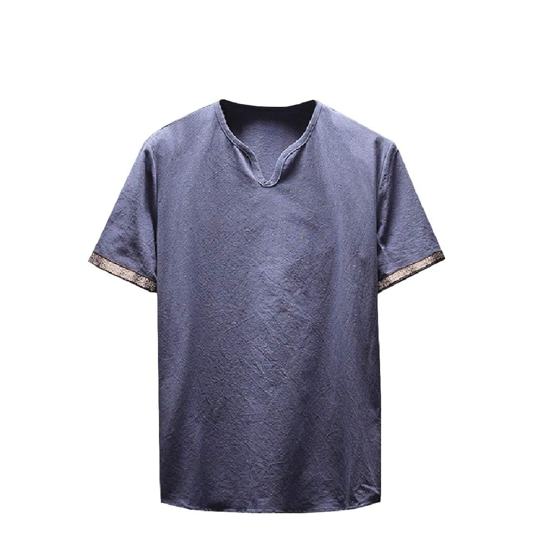Winwinus Mens Pure Silm Fit Cotton Linen V-Neck Chinese Style T-Shirt Top