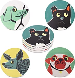 Pandoza Ceramic Dog Coasters, Absorbent Coasters for Drinks - Kitchen House Decor On Large Ceramic Stone with Cork Backing, Drink Spills Thirsty Coaster Set of 4 No Holder