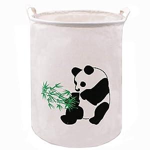 ZUEXT 19.7 Inch Extra Large Folding Laundry Hamper, Waterproof Laundry Basket Handles Cotton Canvas Bucket Cylindric Burlap Canvas Storage Basket, Panda Gift Baskets for Bedroom Baby Nursery(Panda)