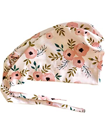 2f11ae5cccc Women s Front Fold Tie Back Scrub Cap Surgical Cap Pink Flowers