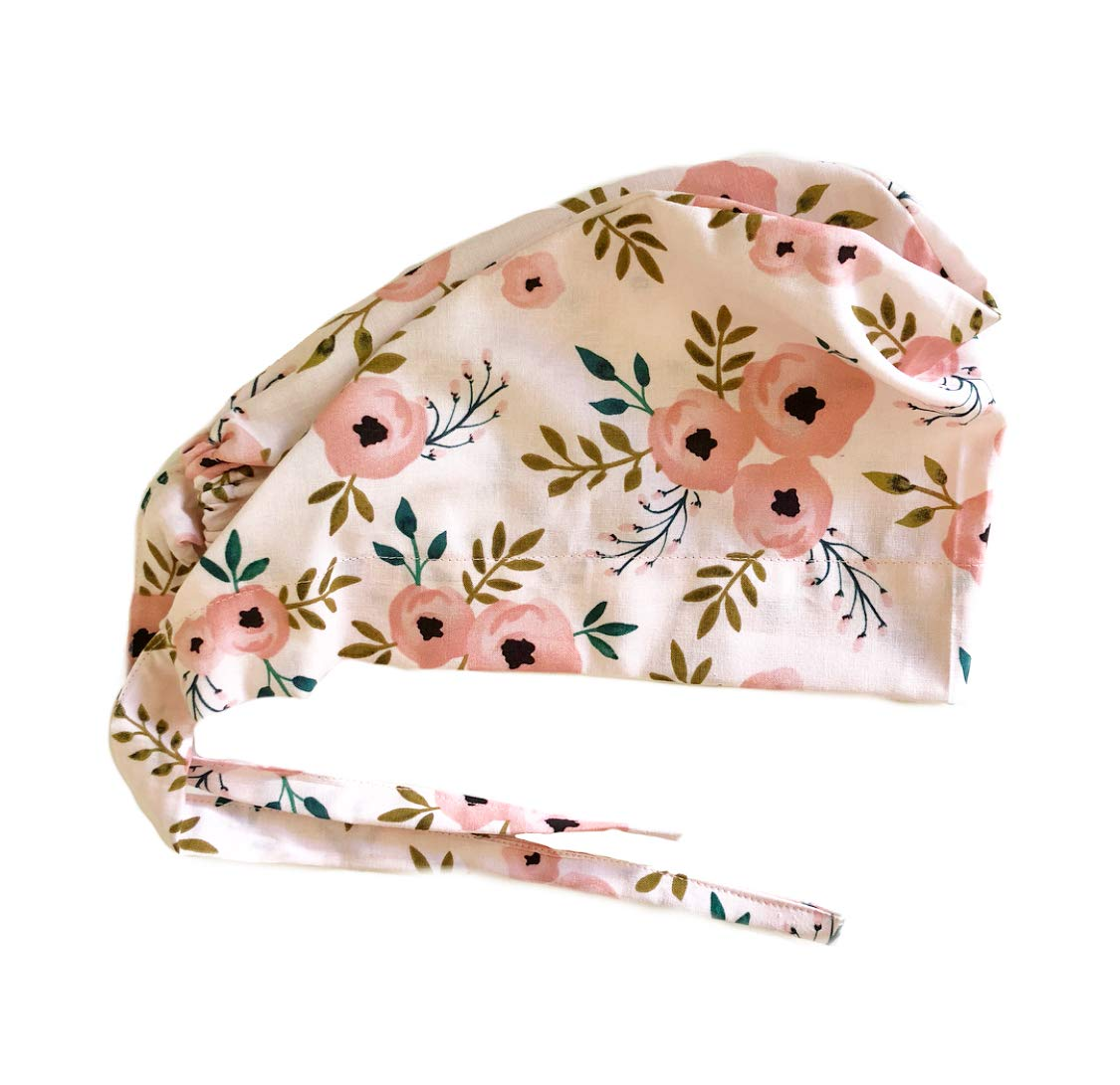 Women's Front Fold Tie Back Scrub Cap Surgical Cap Pink Flowers by Grace N May