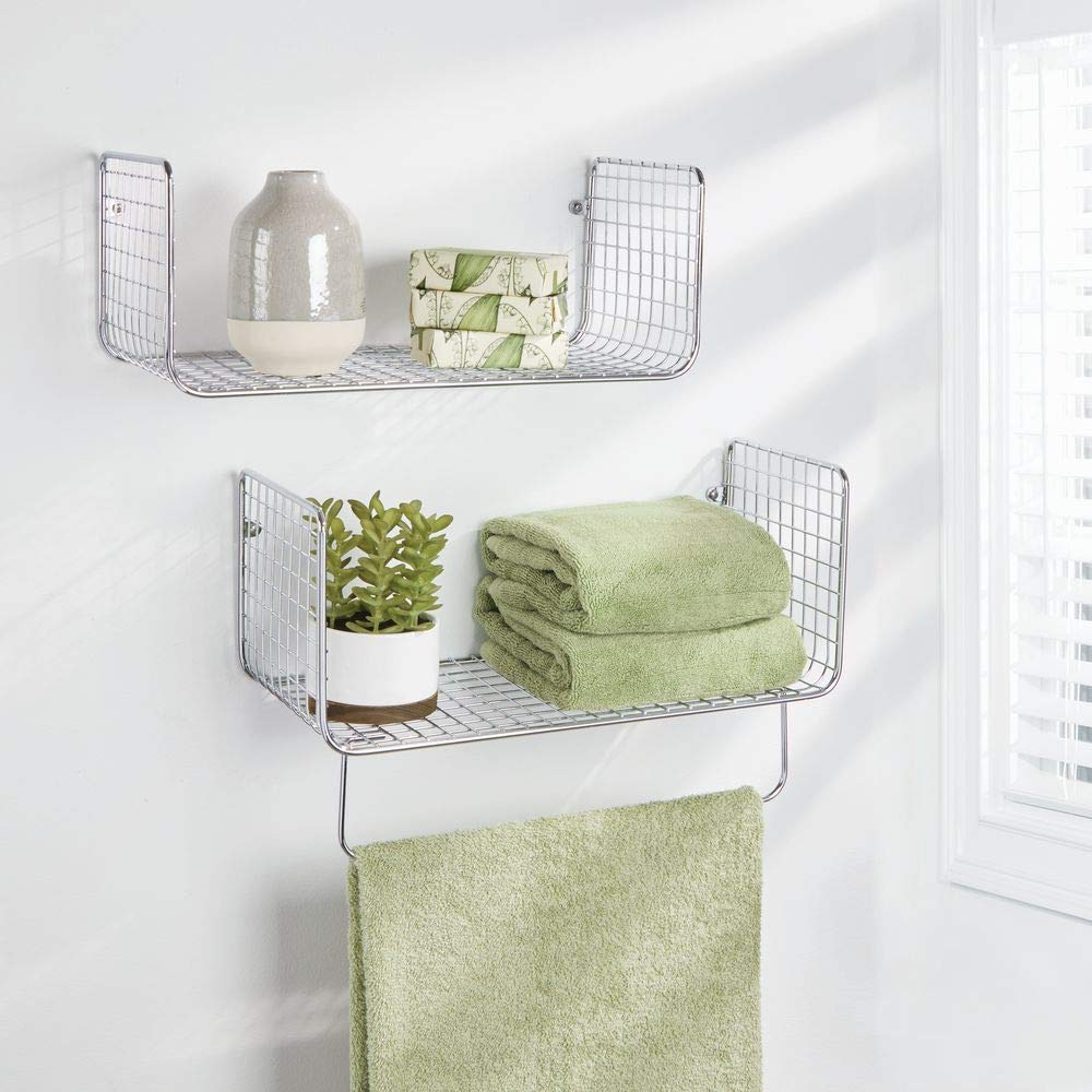 Utility Rooms and More mDesign 2-Piece Set of Wall Shelves Wall Mounted Storage for Kitchens Bathroom Shelving with Towel Bar Bathrooms Chrome