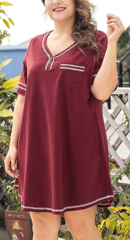 16W-28W INVOLAND Women/'s Plus Size Nightgown V Neck Cotton Sleepdress Casual Pocket Short Sleeve Sleepwear