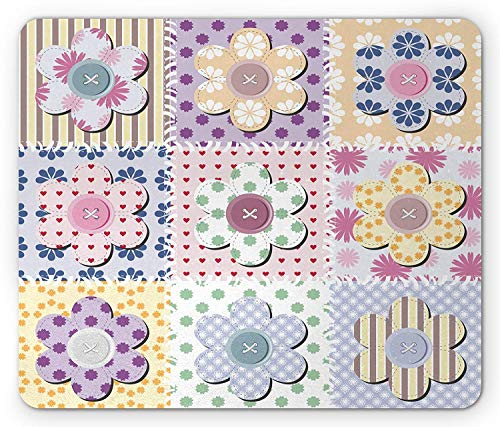 Sole Stitch Rubber (Cabin Mouse Pad, Arts and Crafts Theme Handiwork Quilting Stitches Daisy Motifs Sewing Image Print, Standard Size Rectangle Non-Slip Rubber Mousepad, Multicolor)