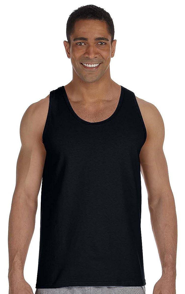 Large Gildan Adult 6.1 oz 100/% Cotton Tank Top in Black