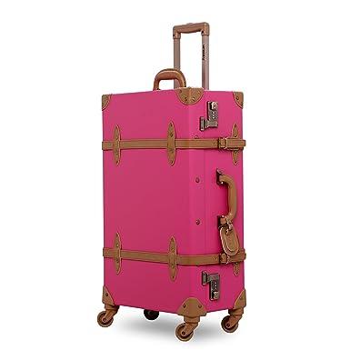 vintage luggage. unitravel suitcase vintage luggage with spinner wheels retro style (22\u0026quot;, e