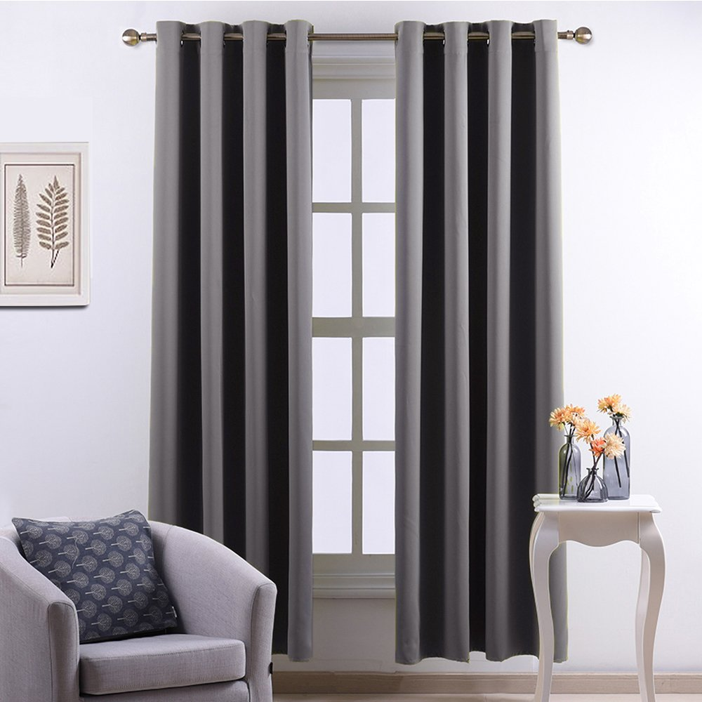 Nicetown Three Pass Microfiber Noise Reducing Thermal Insulated Ring Top Blackout Window Curtains / Drapes Gray